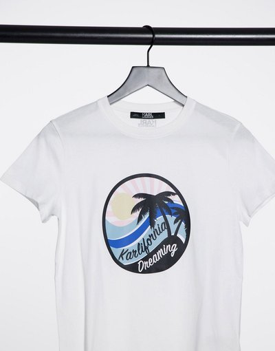 T-shirt Bianco donna shirt bianca con logo - Karl Lagerfeld - Kalifornia - Bianco - T