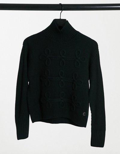 Nero donna Maglione con collo alto motivo Soutache nero - Karl Lagerfeld