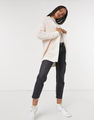 Bianco donna Cardigan in maglia a righe bouclé bianco - Karl Largerfeld