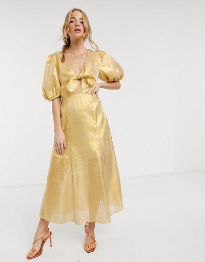 Eleganti longuette Giallo donna Vestito midi giallo metallizzato - Keepsake