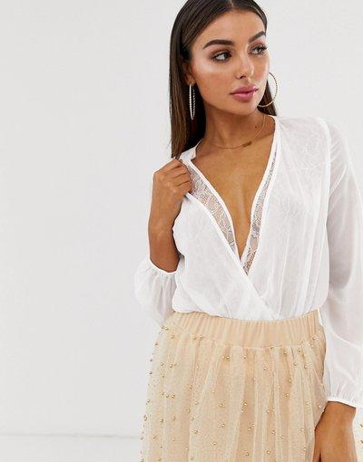 Camicia Bianco donna Blusa a portafoglio con pizzo avorio - Koco&K - Bianco