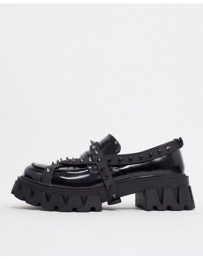 Scarpa elegante Nero uomo Mocassini college neri con borchie in metallo - Koi Footwear - Nero