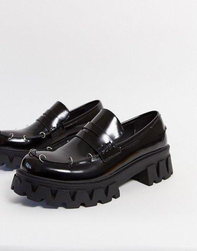 Scarpa elegante Nero uomo Mocassini college vegan con dettagli in metallo neri - Koi Footwear - Nero