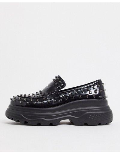 Scarpa elegante Nero uomo Mocassini con suola spessa e borchie neri - Koi Footwear - Nero