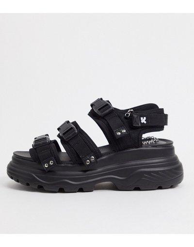 Sandali Nero uomo Sandali chunky con cinturino e fibbia neri - Koi Footwear - Nero