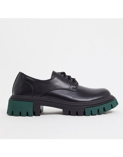 Scarpa elegante Nero uomo Scarpe brogue chunky nere con dettaglio verde - Koi Footwear - Nero