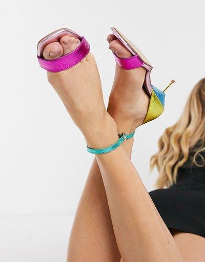 Sandali Multicolore donna Sandali in pelle arcobaleno con tacco e fascette - Kurt Geiger London - Multicolore - Birchin