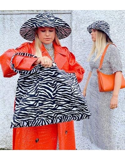 Portafoglio Nero donna Borsa shopping XL con stampa zebrata - Labelrail x Olivia&Alice - Nero