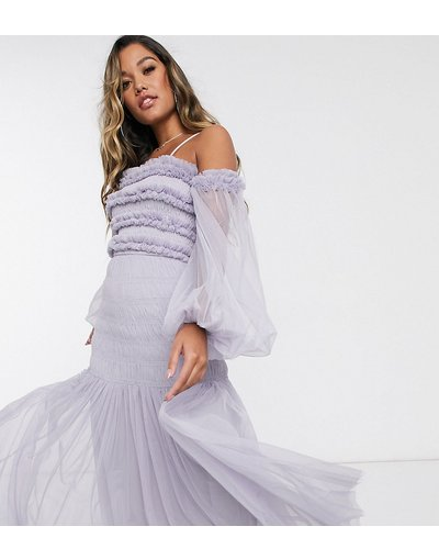 Grigio donna Vestito lungo lilla grigio con volant, scollo Bardot e maniche a palloncino trasparenti - Lace&Beads