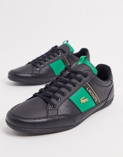 Sneackers Nero uomo Sneakers nere con righe laterali - Chaymon - Lacoste - Nero