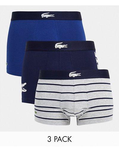 Calze Blu navy uomo Confezione da 3 boxer aderenti con logo grande blu navy - Lacoste