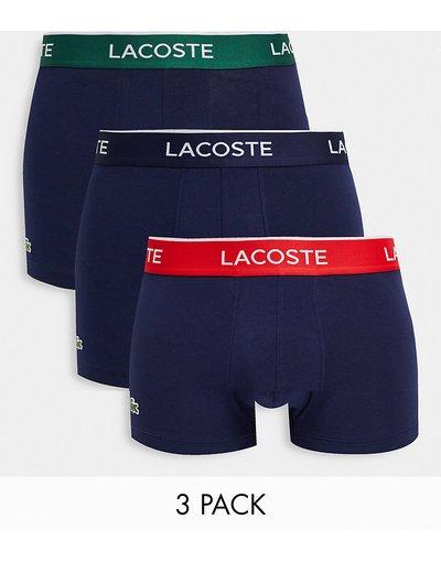 Intimo Blu navy uomo Confezione da 3 paia di boxer aderenti blu navy con fascia a contrasto in vita - Lacoste