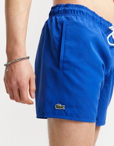 Costume Blu uomo Pantaloncini da bagno tinta unita blu con logo - Lacoste