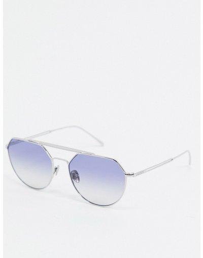 Occhiali Argento uomo Occhiali da sole esagonali con doppia barretta superiore - Paris Collection - Lacoste - Argento