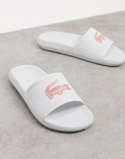 Infradito Bianco donna Slider bianche e rosa con logo a coccodrillo - Lacoste - Bianco