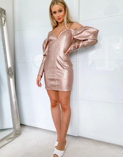 Oro donna Vestito corto con spalle scoperte e dettaglio con maniche a sbuffo in ecopelle PU oro rosa - Lashes Of London
