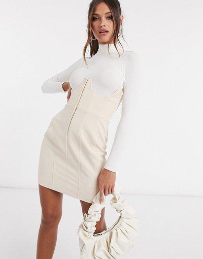 Crema donna Gonna vita alta stile corsetto color pietra - Lavish Alice - Crema