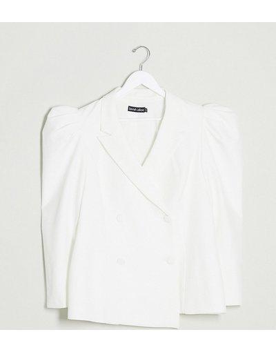 Bianco donna Blazer bianco con maniche a sbuffo - Lavish Alice Plus