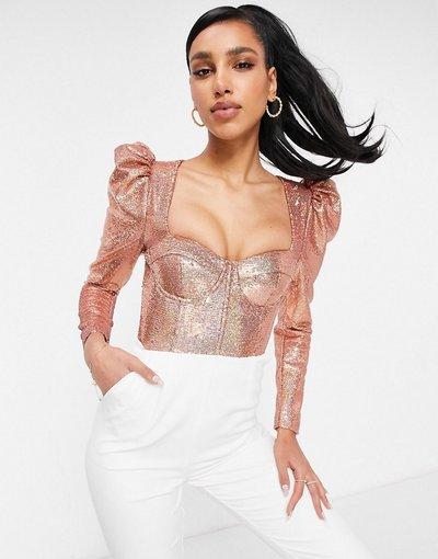 Rosa donna Top a corsetto con paillettes oro rosa e maniche a sbuffo - Lavish Alice