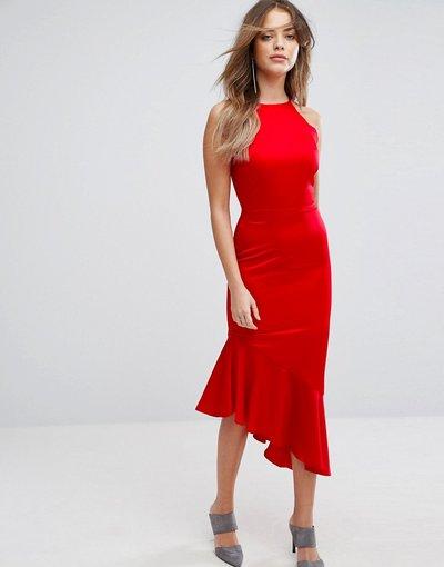 Rosso donna Vestio midi in raso con fondo a cascata - Lavish Alice - Rosso