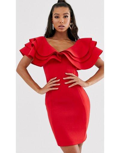 Rosso donna Vestitino in tessuto scuba rosso con maniche a strati molto ampie - Lavish Alice