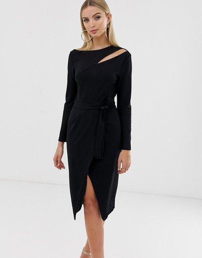 Nero donna Vestito a portafoglio asimmetrico nero con cut - Lavish Alice - out