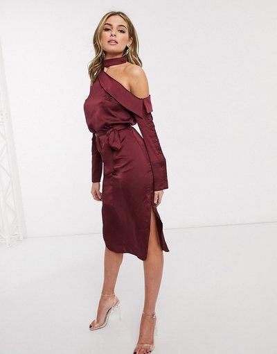 Rosso donna Vestito camicia in raso bordeaux - Lavish Alice - Rosso