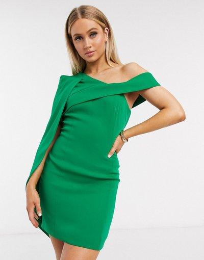 Verde donna Vestito corto monospalla con mantella verde - Lavish Alice