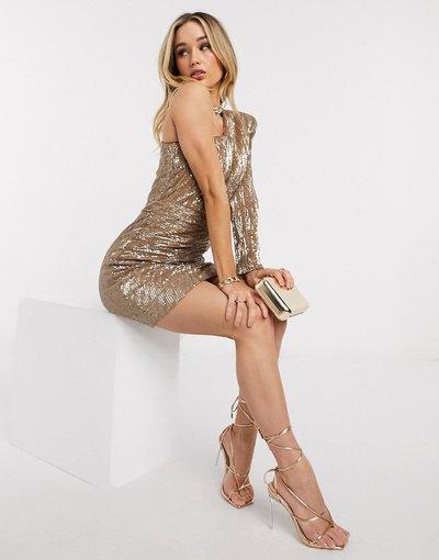Oro donna Vestito corto monospalla con paillettes color oro metallico - Lavish Alice