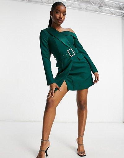 Verde donna Vestito corto monospalla stile smoking verde bosco - Lavish Alice