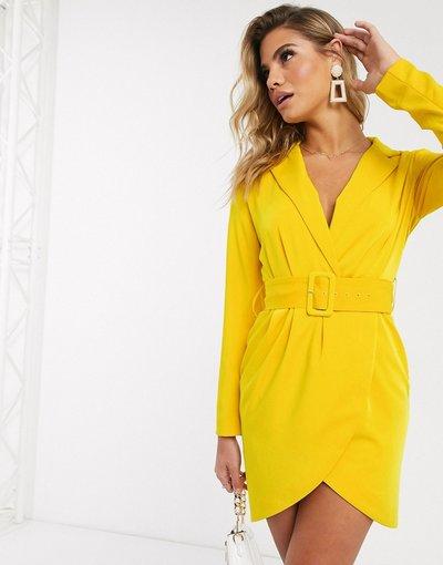 Giallo donna Vestito corto sartoriale a portafoglio giallo - Lavish Alice