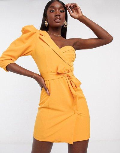 Arancione donna Vestito corto stile blazer con una manica a sbuffo arancione - Lavish Alice