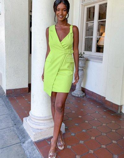 Verde donna Vestito corto stile blazer verde lime con fibbia - Lavish Alice