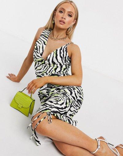 Multicolore donna Vestito in raso con spalline sottili, scollo ad anello e stampa zebrata - Lavish Alice - Multicolore