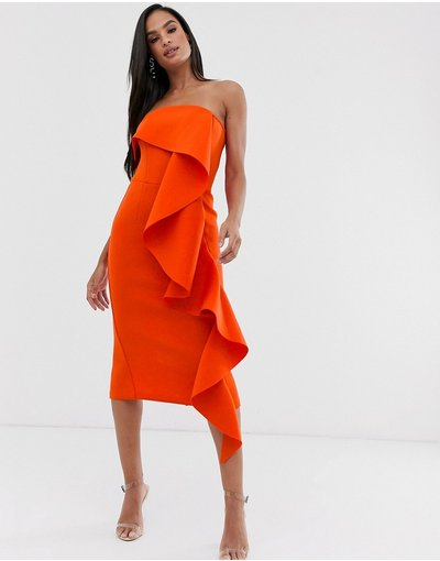 Arancione donna Vestito in tessuto scuba arancione bruciato con scollo alla Bardot e ampie ruches - Lavish Alice