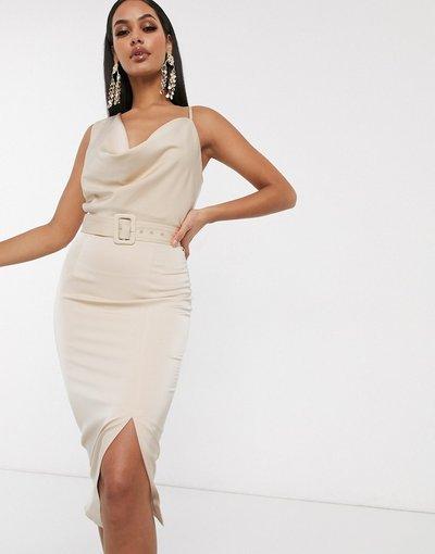 Crema donna Vestito longuette con collo ad anello e cintura beige - Lavish Alice - Crema