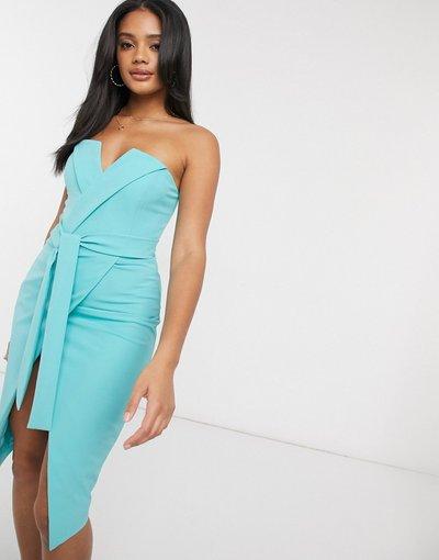 Blu donna Vestito midi a fascia allacciato in vita blu Acqua - Lavish Alice