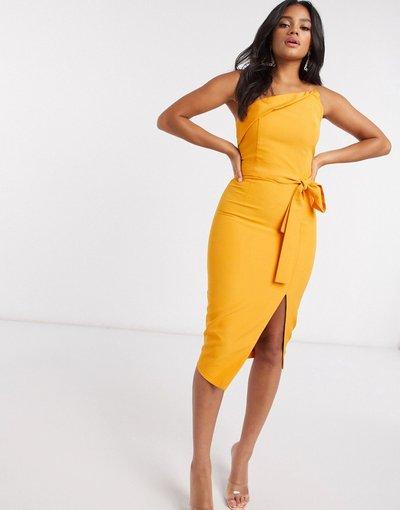 Arancione donna Vestito midi a fascia asimmetrico arancione - Lavish Alice