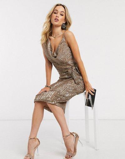 Oro donna Vestito midi a pieghe con scollo ad anello e paillettes oro - Lavish Alice