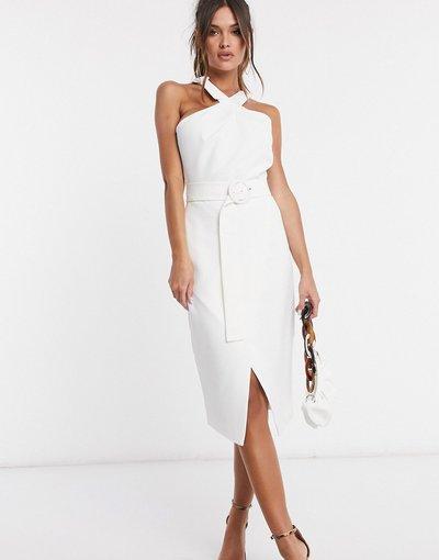 Bianco donna Vestito midi allacciato al collo bianco - Lavish Alice