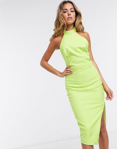 Verde donna Vestito midi allacciato al collo con schiena scoperta lime - Lavish Alice - Verde