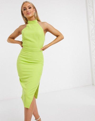 Verde donna Vestito midi allacciato sul retro verde lime - Lavish Alice