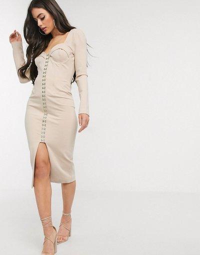 Beige donna Vestito midi beige con scollo quadrato e corsetto - Lavish Alice