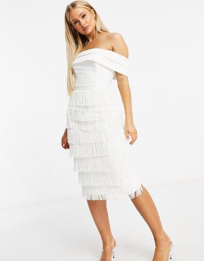 Bianco donna Vestito midi con frange e scollo alla Bardot bianco - Lavish Alice