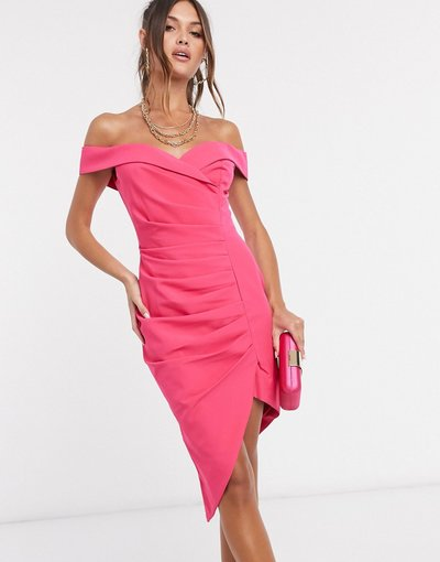 Rosa donna Vestito midi con ruches e scollo alla Bardot rosa - Lavish Alice