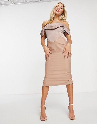 Rosa donna Vestito midi con scollo alla Bardot color visone - Lavish Alice - Rosa