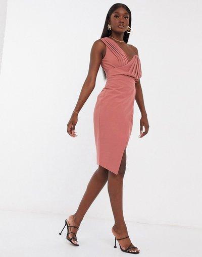 Rosa donna Vestito midi monospalla rosa - Lavish Alice