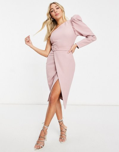Rosa donna Vestito midi monospalla rosa con cintura - Lavish Alice