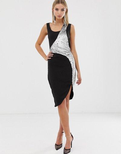 Argento donna Vestito midi nero a doppio strato com paillettes argento e nere - Lavish Alice