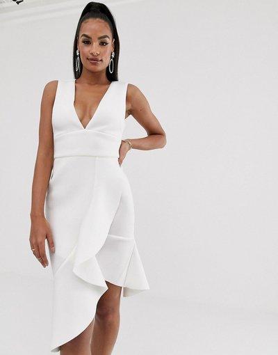 Bianco donna Vestito scuba a portafoglio bianco con scollo a V e volant - Lavish Alice